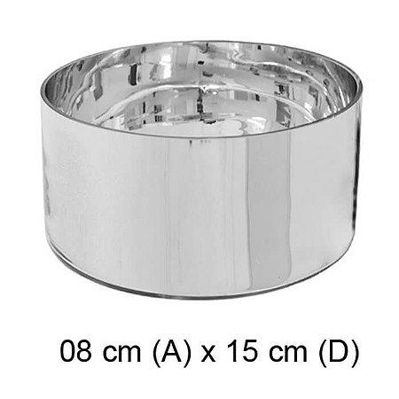 Vaso Vidro Cilíndrico Espelhado Prata 8x15cm