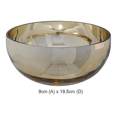 Vaso Vidro Bacia Dourado 9x19,5cm