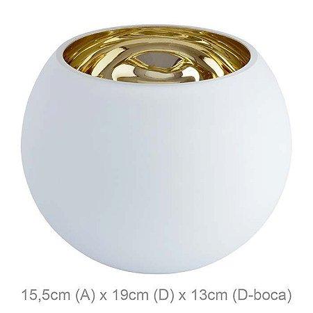 Vaso Vidro Aquário Branco Dourado 15,5x19cm