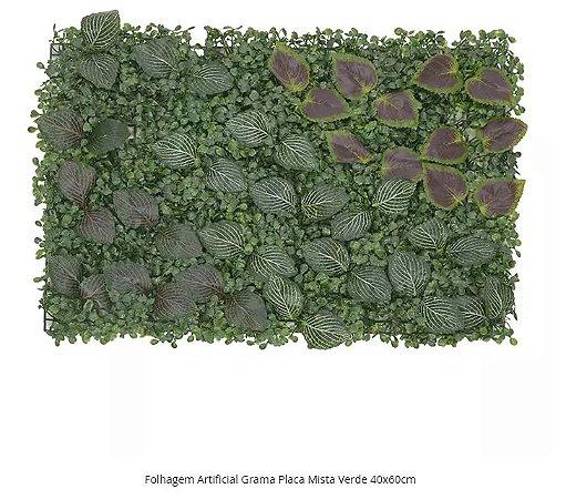 Folhagem Artificial Grama Placa Mista Verde 40x60cm