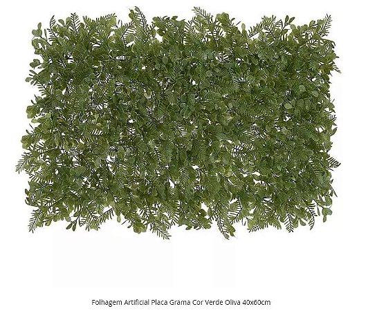 Folhagem Artificial Placa Grama Cor Verde Oliva 40x60cm