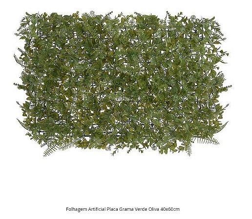 Folhagem Artificial Placa Grama Verde Oliva 40x60cm