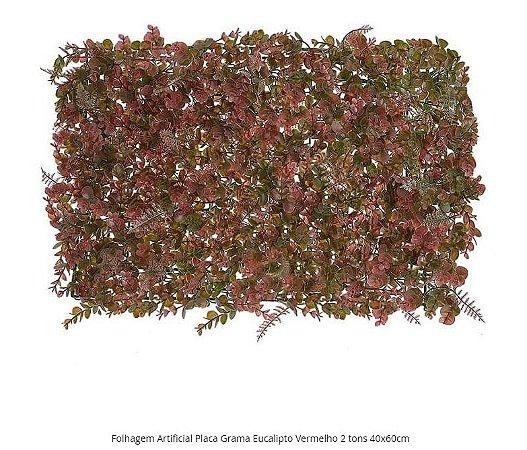 Folhagem Artificial Placa Grama Eucalipto Vermelho 2 tons 40x60cm