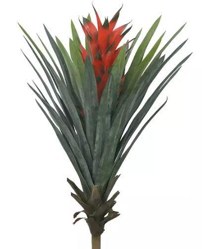 Planta Árvore Artificial Bromélia Vermelha 75cm