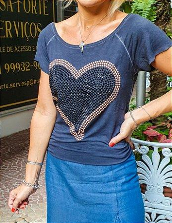 T-shirt Coração Contorno Rose