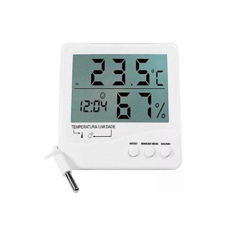 Termo-Higrômetro Digital Incoterm 7663 - com alarme, relógio e cabo extensor