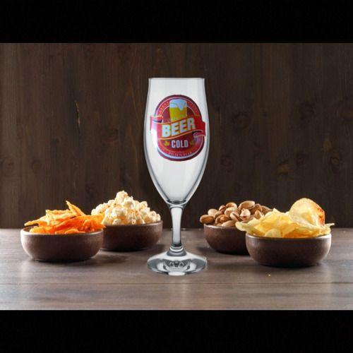 Taças De Cerveja De Vidro 300ml Colecionador Com 3 Unidades