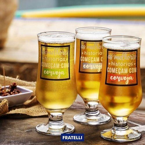 Taças De Cerveja De Vidro 280ml Colecionador Com 3 Unidades