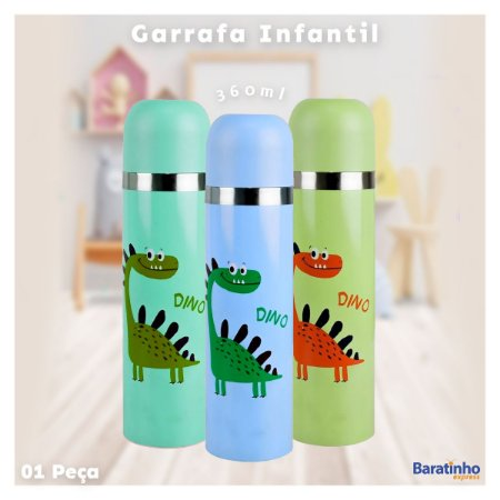 Garrafa Térmica Infantil 360ml Inox Dino Color Fratelli