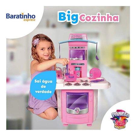 Cozinha Infantil Rosa Completa C/ Pia Fogão Forno E Sai Água