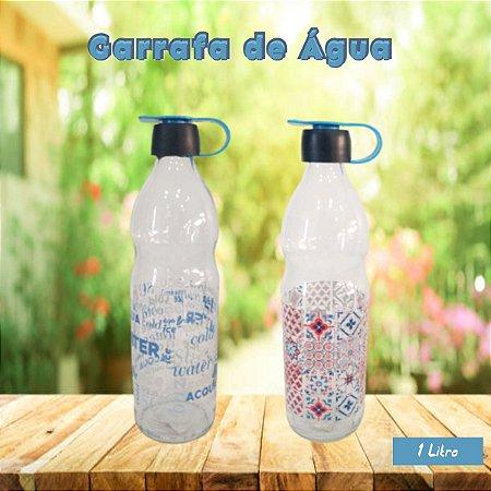 Garrafa de Água 1 Litro Vidro Incolor Decorada Fratelli