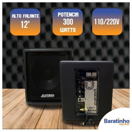 """Caixa Subwoofer Grave Ativo Profissional AF 12"""" 300 Watts"""