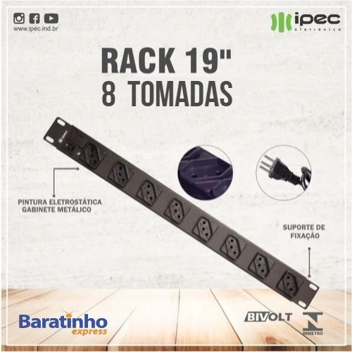 Filtro De Linha Rack19 Extensão Régua 8 Tomadas Bivolt Ipec