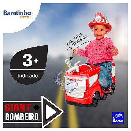 Caminhão Giant Bombeiro Infantil Lança Água Roma Brinquedos