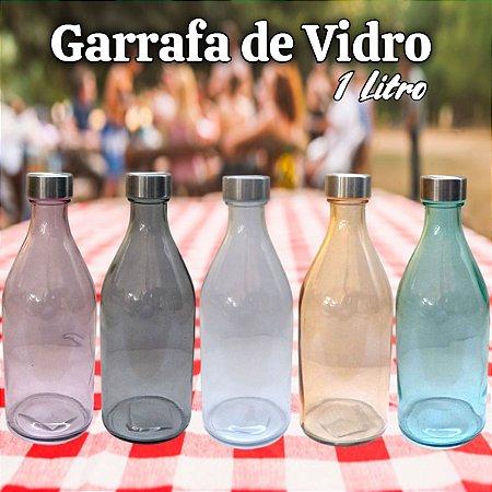 Garrafa De Água 1 Litro Vidro Incolor C/ Tampa De Inox