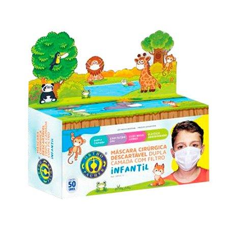 50x Máscaras Descartável Dupla Camada com Filtro Infantil