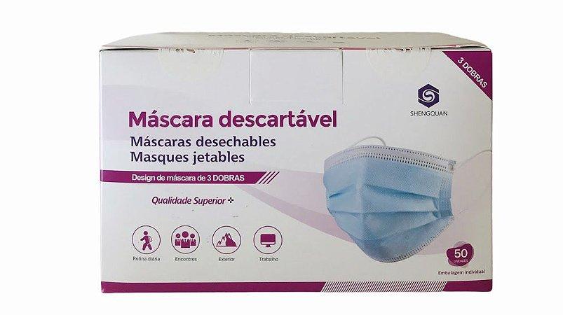 Máscara Descartável Profissional com Camada Tripla - 50 Un