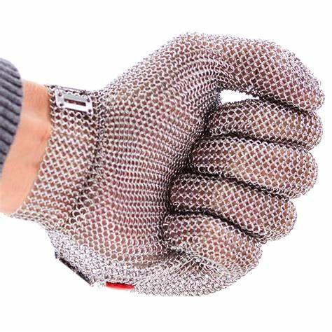 Luva De Segurança Malha Aço Inox Açougue Anti-corte Com Ca