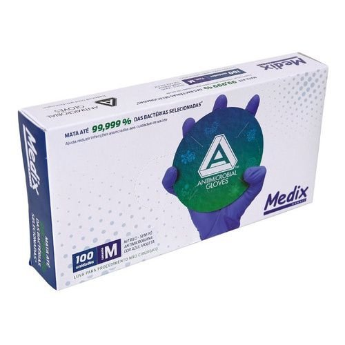 Luva Nitrílica Antimicrobiana Medix Azul