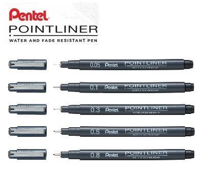 Kit Caneta Pentel Nankin Pointliner - 0,1-0,3-0,5-0,8-0,05
