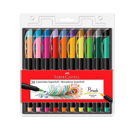 Marcador Brush Pen Super Soft 20 Cores Faber-castell