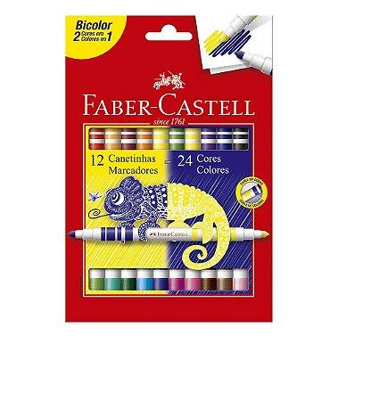 Caneta Hidrografica Bicolor 12 canetas com 24 cores - Faber