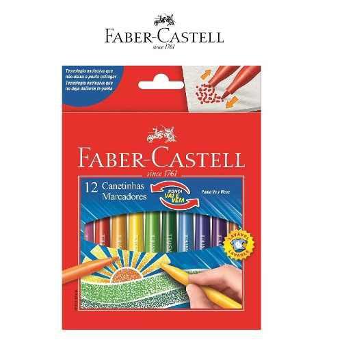 Canetinha Hidrográfica Faber Castell Vai e Vem Com 12 Cores