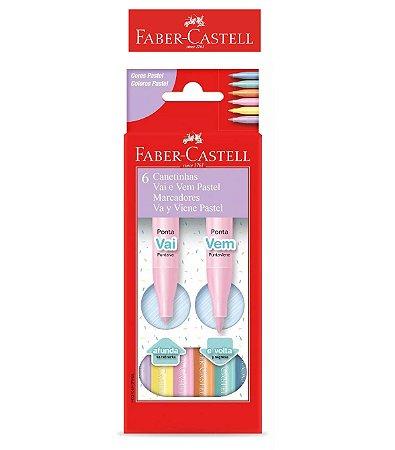 Caneta Hidrográfica Vai e Vem Tons Pastel 6 cores Faber-Castell