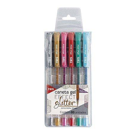 Caneta gel Effect Glitter Conj c/6 Cores - Tris