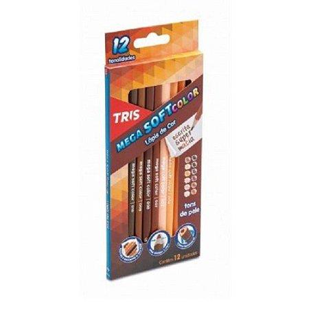 Lápis De Cor 12 Cores Mega Soft Color Tons De Pele Tris