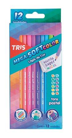 Lapis De Cor Mega Softcolor 12 Cores Tons Pastel Tris