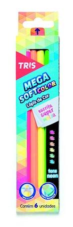 Lápis de Cor Megasoft Neon 6 cores Tris