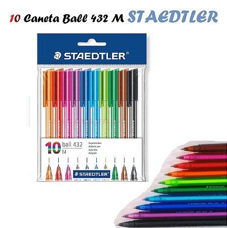 Caneta Esferográfica Staedtler Ball 432 Com 10 Cores
