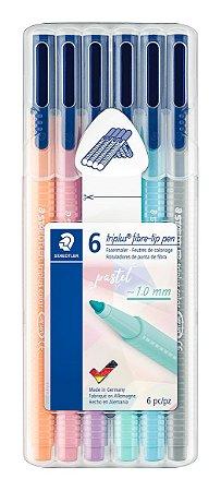 Caneta Staedtler Triplus Fibre-pen Pastel - Kit 6 Cores