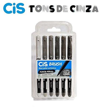 Marcador Aquarelavel Cis Brush c/ 6 Tons de Cinza