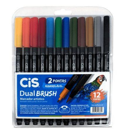 Estojo Caneta Pincel Cis Dual Brush Pen Aquarelável Com 12 Cores