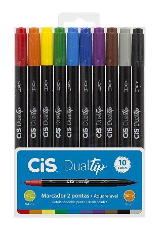Conjunto C/10 Cores Caneta Brush Cis Dualtip