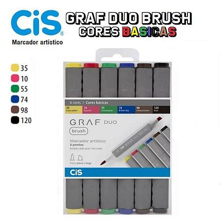 Caneta Cis Graf Duo Brush 2 Pontas C/06 Cores Basicas