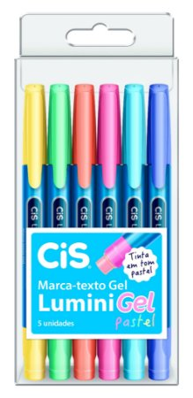 Kit Caneta Marca Texto Cis Lumini Gel Pastel Estojo C/6