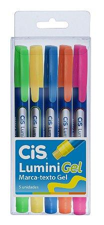 Marca Texto Cis Lumini Gel Neon Estojo c/5 unidades
