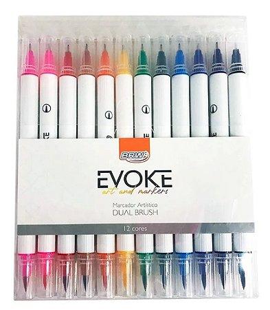 Caneta Brush Pen 12 Cores Duas Pontas para Lettering Brw pen
