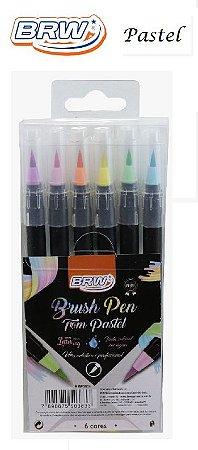 Marcador Brush Pen - Blister c/6 Cores Pastel - BRW