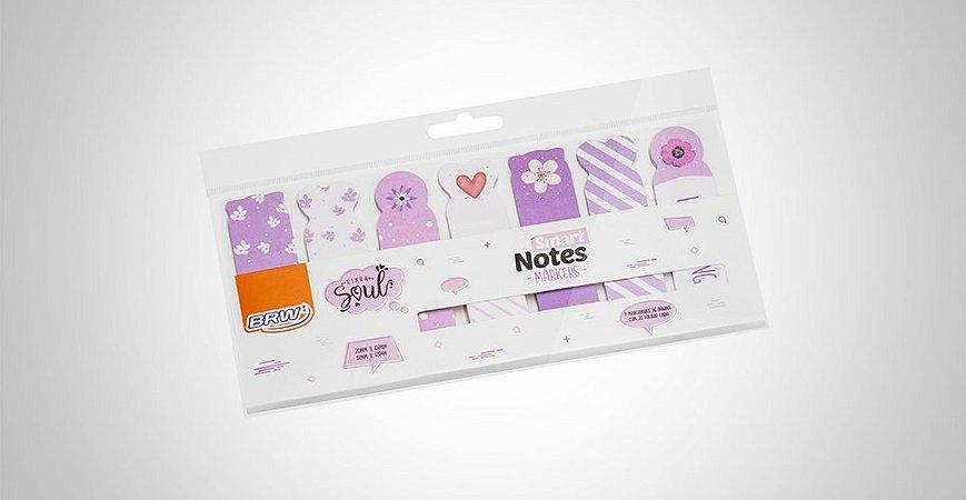 Bloco Smart Notes Marca Páginas Lilás  BRW