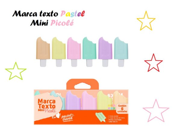 Caneta Marca Texto Mini Picolé Tons Pastéis 6 Cores Jocar