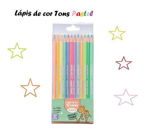 Lápis de cor 12 Cores Pastel Triangular - Leo&Leo