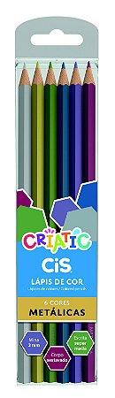 Lapis De Cor Cores Metálicas 6 Cores Cis Criatic