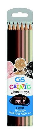 Lapis De Cor Cores Tons de Pele 6 Cores Cis Criatic