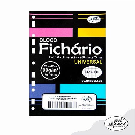 Refil Folha P/ Fichário Quadriculado Merci 90g - Pct c/80 FL