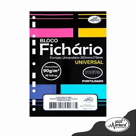 Bloco Fichário Colegial 40fls Pretas Pontilhada 90g/m² Merci