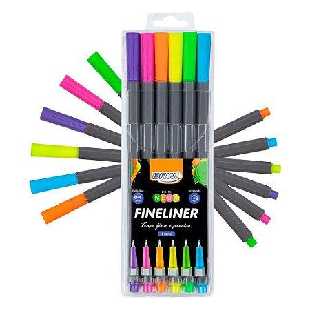 Canetinha Hidro Fine Liner C/6 0,4mm Neon - BRW